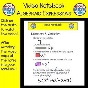 Video Notebook - Algebraic Expressions