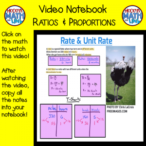 Video Notebook - Ratios & Proportions