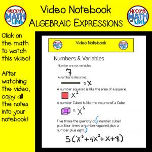 Video Notebook - Algebraic Expressions