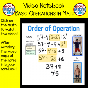 Video Notebook - Basic Operations in Mathematics
